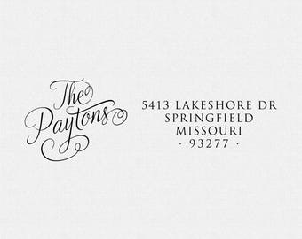 Personalized Rubber Address Stamp, Self Inking Stamp Address Stamp, Family Stamp, Cursive, Wedding Gift, Self Ink, Rubber Stamp (T253)