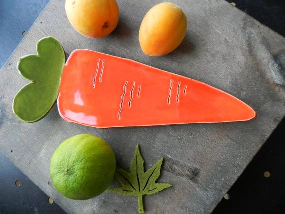 Ceramic Carrot Dish, Veggie Plate Kitchen Decor,  Spoon Rest, Orange Green Table Decoration in Recycled Paper Box