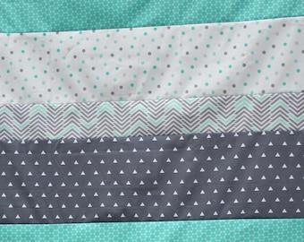 Quilt Top, Unfinished Quilt Top, Boy's Quilt, Boy's Crib Quilt, Gray and Mint Quilt, Mint Gray Top