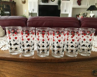 Vintage Glass Tumblers, Mid Century, Highball Glasses, Card Suit Pattern, Red White and Black, Glasses, Barware, Housewares, Set of 6