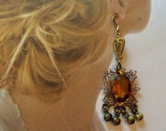 1stDayofSummerSALE Czech Filigree Earrings Art Deco Bohemian Renaissance Citrine Dangle