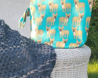 Project Bag, Large Project Bag, Knitting Bag, Crochet Bag, Knitting Pouch, Accessory Pouch, Travel Pouch, Dog Project Bag