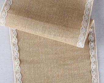 Wedding Table Runner, Lace Edge Burlap Table Runner, Rustic Wedding Table  Runner, Rustic
