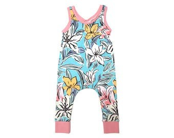 Tropical Floral Romper 6m-6/7y. Girls Summer Jumper, Pink Floral, Toddler Outfit, Brown Sugar Beach