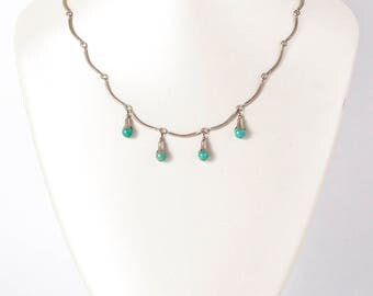 Vintage Necklace - Vintage Sterling Silver Turquoise Necklace