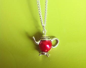 Silver Pendant chain necklace red Pearl teapot
