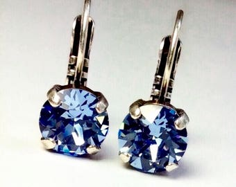 Swarovski Crystal 8.5mm Lever- Back Drop Earrings - Classy - Lt. Sapphire - OR Choose Your Favorite Color and Finish -  FREE SHIPPING