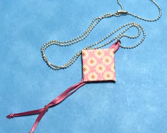Mini Book Necklace Pink Charm Necklace Book Charm Necklace Mini Book Pendant Book Necklace Art Charm Necklace Miniature Book