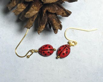 Ladybug Earrings Red Ladybug Earrings Insect Bead Earrings Garden Earrings Lady Bug Earrings Ladybug Jewelry Nature Earrings
