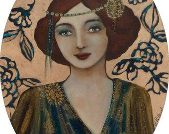 """Woman portrait """"années folles"""" on an oval canvas in gold and green/blue"""
