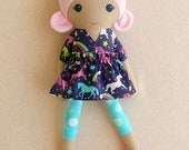 Reserved for Aimee - Fabric Doll Rag Doll 20 Inch Pink Haired Girl in Navy and Pink Unicorn Print Dress with Pink Sparkly Star Shoes