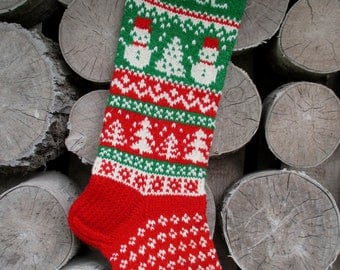 Christmas stocking personalized Hand knit Wool Red Green  White with Snowman  Snowflakes Trees