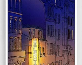 30% OFF SALE: Paris illustration - Theatre du Splendid - Art illustration Prints Posters Architectural drawing Travel poster Home decor Blue
