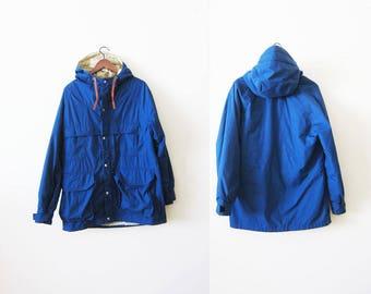 Vintage REI Jacket /REI 60 40 Jacket / Vintage Hiking Jacket / 90s Windbreaker / Blue Windbreaker / Camp Jacket / Mens Windbreaker Large