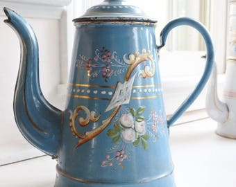 Exquisite Antique French Enamelware Coffee Pot, hand-painted, raised enamel Flowers, c. 1880's