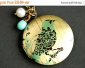 MOTHERS DAY SALE Turquoise Bird Locket Necklace. Filigree Bird Necklace with Aqua Blue Teardrop and Fresh Water Pearl Charm. Bronze Locket.