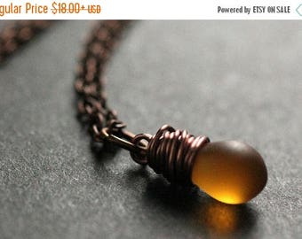 SUMMER SALE Copper Necklace. Frosted Amber Teardrop Necklace. Solitaire Necklace. Bridesmaid Necklace. Handmade Jewelry.