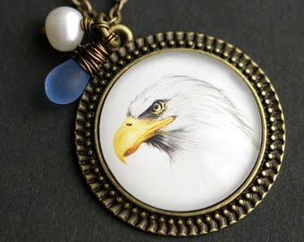 Bald Eagle Necklace. Bald Eagle Pendant. Bird Necklace with Glass Teardrop and Fresh Water Pearl. Bird Pendant. Bronze Necklace.