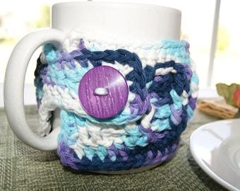 Crochet Mug Sleeve - Cotton Cup Cozy - Handmade - Multi Colored Yarn - Purple - Navy - White - Blue - Teacher Gift - Gift Basket Accessory