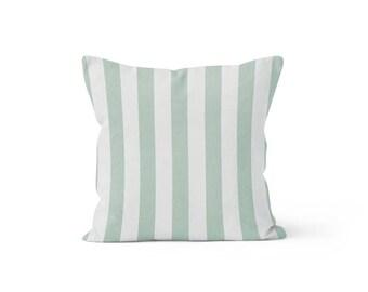 Blue Stripe Pillow Cover - Canopy Snowy - Lumbar 12 14 16 18 20 22 24 26 Euro - Hidden Zipper Closure