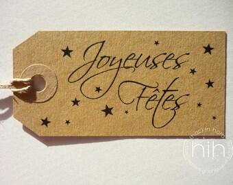 """lot 6 punched tag #kraft # """"joyeuses fêtes"""""""