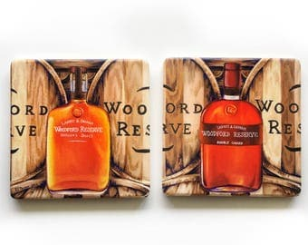 Woodford Reserve Barware Coasters: bourbon, ceramic drinkware, man cave, hostess wedding gift, whiskey, stock the bar, for him, Kentucky