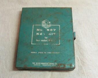 Vintage Allen Head Hex Key Kit No. 667 in Original Metal Case, 18 pc. Set Missing Only 2!