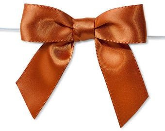 "Copper 3"" Pre-Tied Satin Bows with 5"" Twist Ties~ 7/8"" ribbon- Pack of 6"