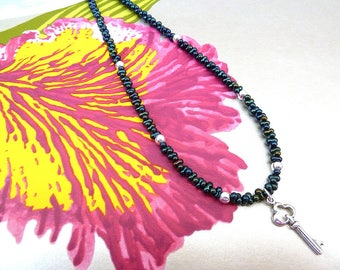 Seed Bead Necklace Peacock Beaded Necklace Navy Seed Bead Necklace Key Charm Necklace Single Strand Charm Peanut Bead Necklace Classic Gift