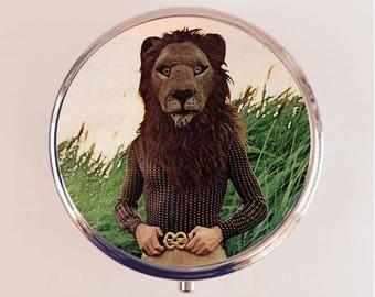 Lion Man Pill Box Case Pillbox Holder Trinket Stash Box Anthropomorphic Animal Art