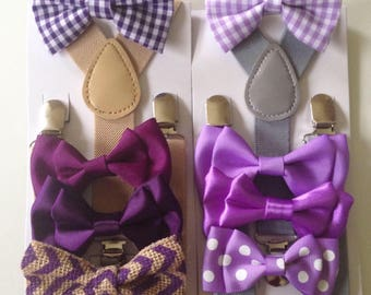 Purple Bow tie Suspenders Lavender Baby bowtie lilac Gingham Boys Bow ties Toddler Necktie Mens bowties Rustic Wedding Ring Bearer Outfit