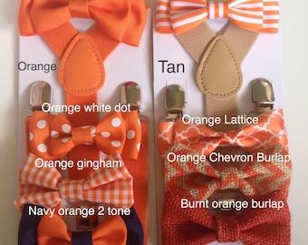 Orange Suspenders Bow tie Burnt Orange Baby bow ties Boy Bowties Braces Kid Toddler Necktie Men bowtie Wedding Ring Bearer Outfit Cake Smash