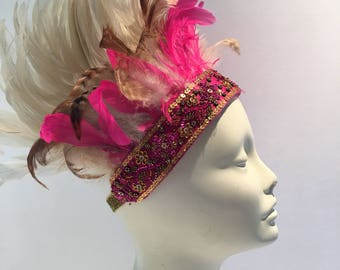 Pink feather Head Wrap- Boho Headband-  Music Festival Wear- Feather stretch band- Flapper- Burner Babe- Hippy - Feather Headdress
