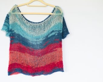 Cotton Knit Tops, Off-the-Shoulder-Blouse, Red and Blue