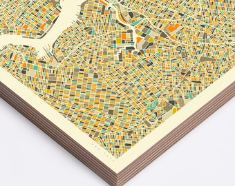 NEW YORK MAP (Ready to Hang, Birch Wood Print for your Home Décor)