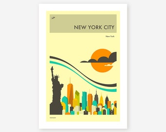 NEW YORK CITY Travel Poster (Giclée Fine Art Print/Photo Print/Poster Print) by Jazzberry Blue