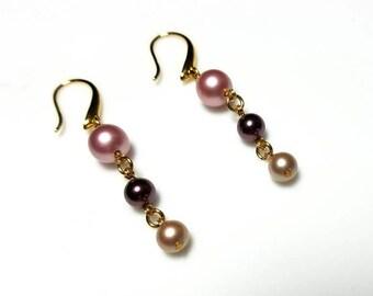 multicolor Swarovski crystal pearl earrings pink purple mauve earrings hypoallergenic nickel free earrings long dangle beaded chain jewelry