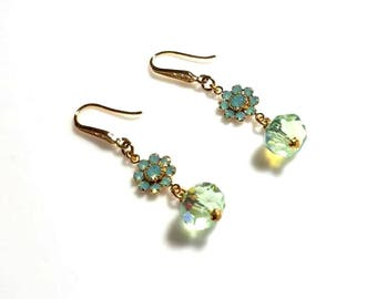 Pacific Opal Swarovski Crystal Gold Flower Earrings with Peridot Green Rondelles Mint Green Crystal Earrings Dangle Beaded Jewelry
