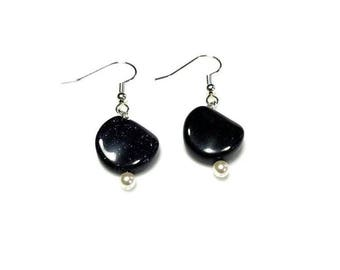 navy goldstone gemstone white Swarovski crystal pearl earrings hypoallergenic earrings nickel free earrings dark blue midnight stone jewelry