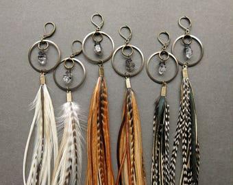 Feather Hoop Earrings - Long Feather Earrings - Statement Earrings - Extra Long Crystal Earrings - Long Dangle Earrings - Herkimer Hoops