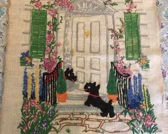 Vintage Scottie dog embroidery