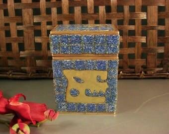 Incomparable Salvador Teran Lapis Blue Glass Tile & Brass Box / 1970s