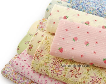Tiny Floral Fabric, Orange Pink Blue Strawberry Flower Cotton Shabby Fabric- 1/2 Yard