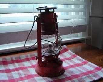 Vintage lantern red rustic Globe Brand kerosene lantern hanging garden decor bar decor mancave decor cabin decor