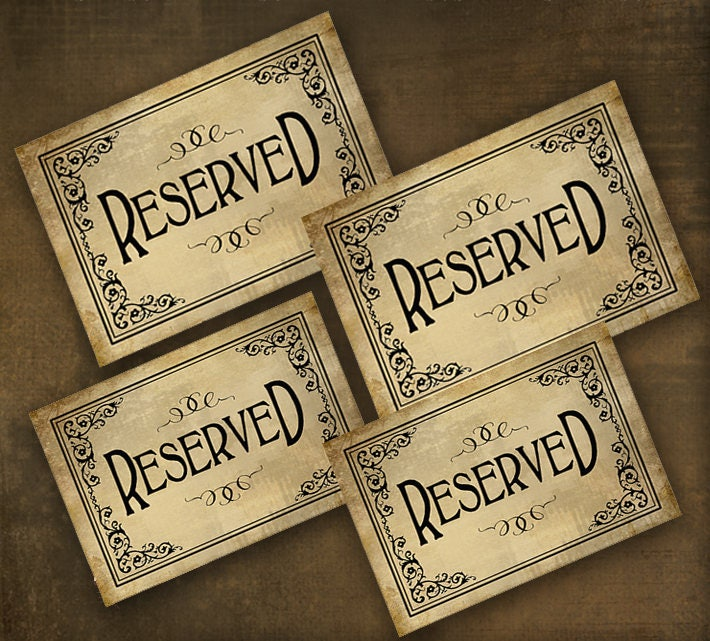 Printed Reserved Sign Table Wedding Seating Banquet Vintage Black Tie
