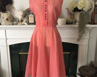 50s Coral Pink Seersucker Summer Dress