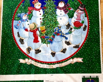 Christmas Fabric Panel Snowman Dancing Daisy Kingdom Quilting Sewing