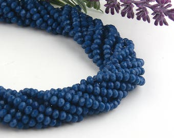 Indigo Blue, Faceted  Rondelle Chinese Crystal Beads, Crystal Rondelle Beads, 1 strand-135 pcs // BD-066
