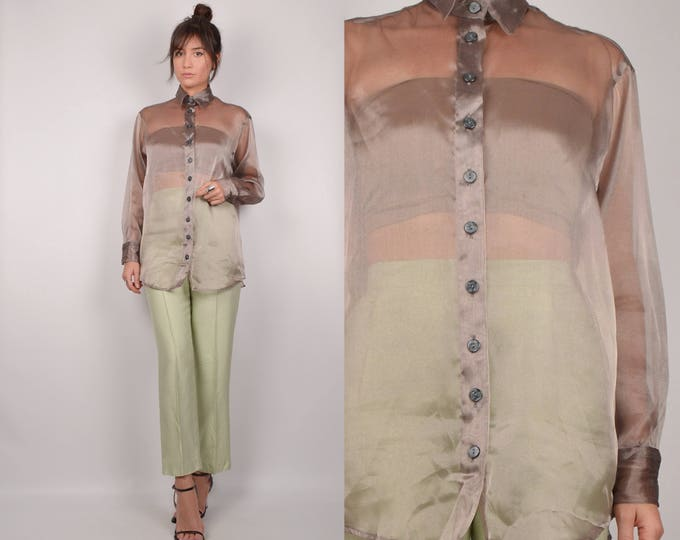 90's Organza Sheer Shirt minimalist vintage