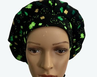 Bouffant Surgical Scrub Hat - St Patrick's Day Scrub Hat - Clover leaf glitter Bouffant scrub hat - Ponytail Scrub hat - Custom Scrub Hat